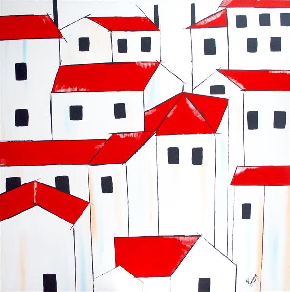 Acrylic painting - red roofs  by Poonam choudhary