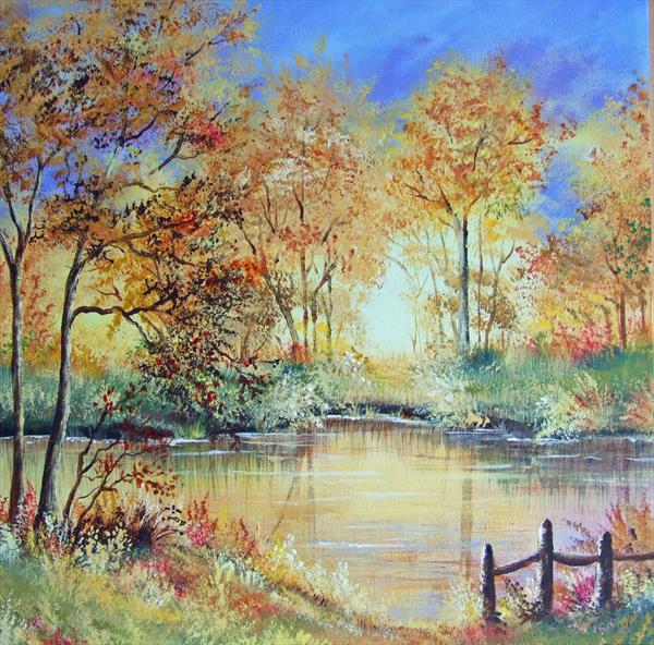 Autumn by the Lake. Acrylic on Box canvas by Pamela J West by Pamela West