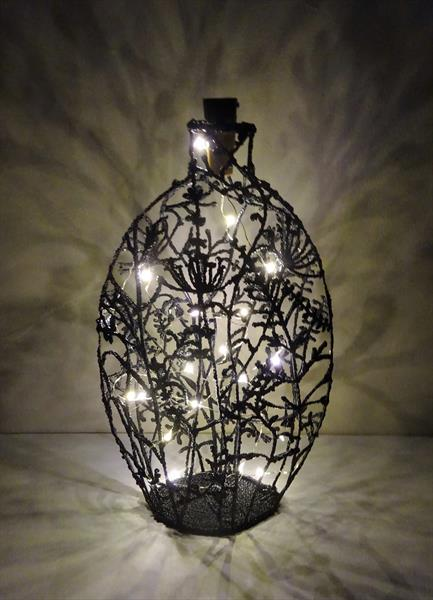 Wildflowers Bottle Light Sculpture by Paula Horsley