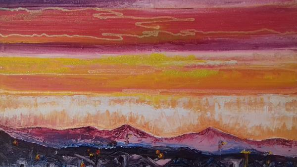 Sunset over Spanish mountains by Emma Kimsey