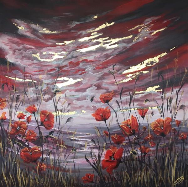 Poppies and gold leaf by Marja Brown