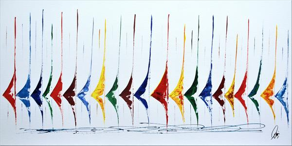 White Race- Abstract- Colourfull Sailboat Painting- Large Acrylic Art Canvas Wart Art