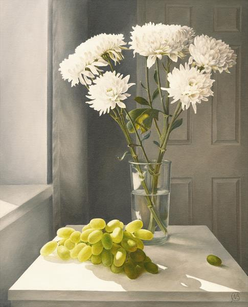 Chrysanthemums and Grapes by Natalia Beccher