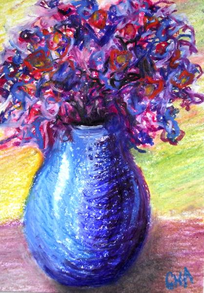 Small blue vase #1 by Gill Aitken