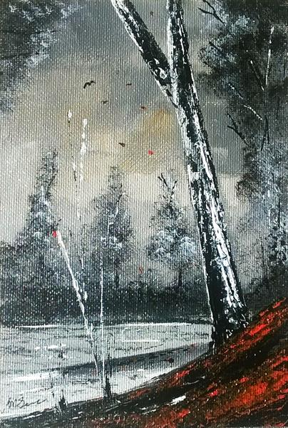 FALLEN LEAVES. SMALL LANDSCAPE PAINTING by Peter Stevenson