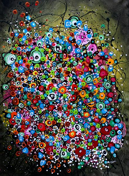 Murrina's Game - Large original floral abstract painting by Cecilia Frigati