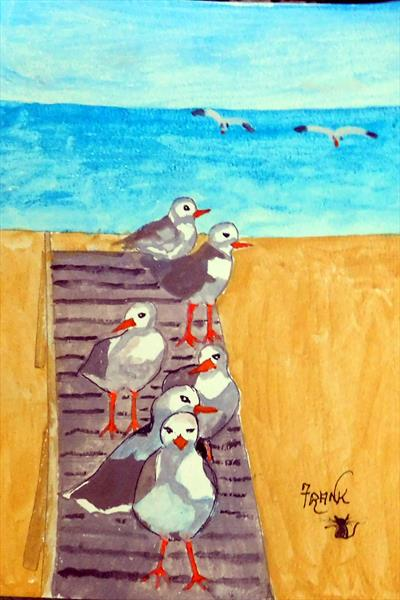 Seagulls  (FRAMED) by Frank Crompton