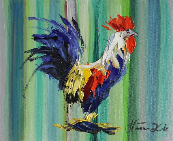 Rainbow Rooster by Margaret Raven