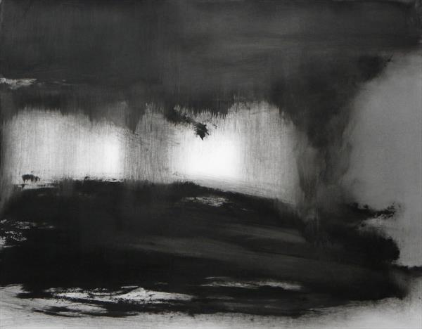 Abstraction in Monochrome' Light in the Darkness 2 ' by Wendy Hyde