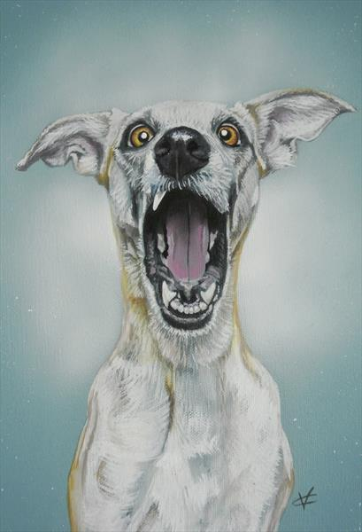 """""""The Howl"""": Howling dog painting"""