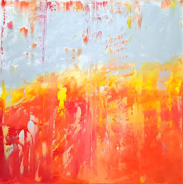 I will melt your Heart - Large coral and silver abstract painting  by Ivana Olbricht