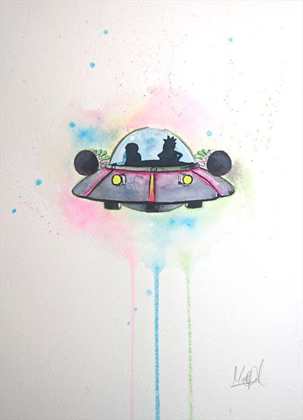 Rick and Morty Spaceship Watercolour Painting A4 by Matt Dale