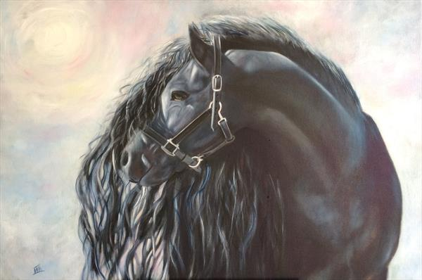 Black horse in  the sun's rays by Ira Whittaker