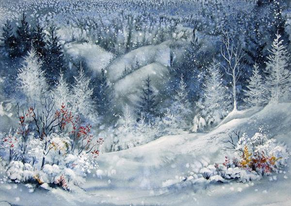 Forest pines in snow. Original Watercolour