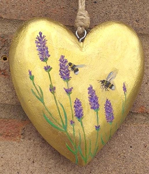 Lavender and bees on gold by Maureen Lacey