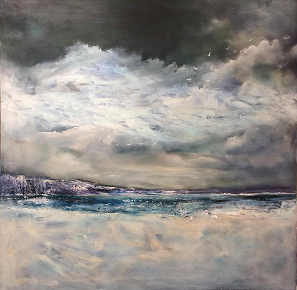 'See The Gulls Soar' ~ Seascape Oil and mixed media on canvas 33