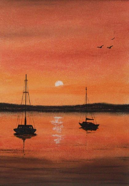 Boats at Sunset 5# by Patricia Richards
