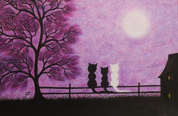 Cats on Fence (Framed) by Claudine Peronne