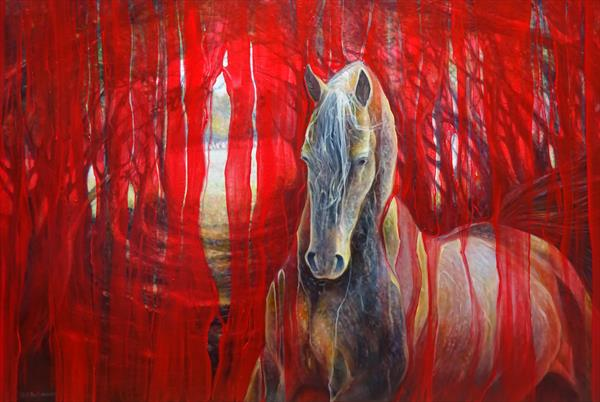 Horse Metamorphosis a gold Arabian horse on red by Gill Bustamante