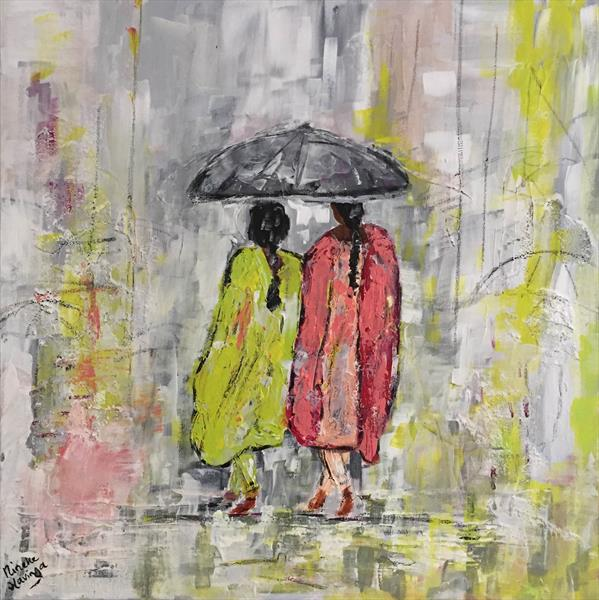 Indian women in the rain by Nineke Havinga