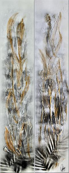Golden Feathers - Abstract Art - Acrylic Painting - Canvas Art - Abstract Painting - Industrial Art  by Edelgard Schroer