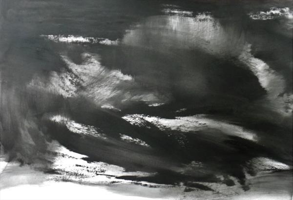 Abstraction in Monochrome' Light in the Darkness 3 ' by Wendy Hyde