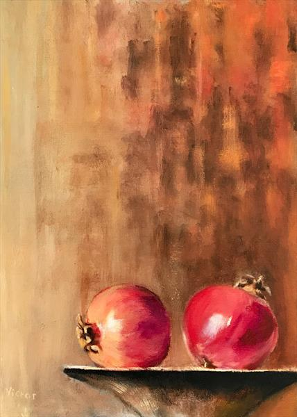 Pomegranites on platter by Victor White