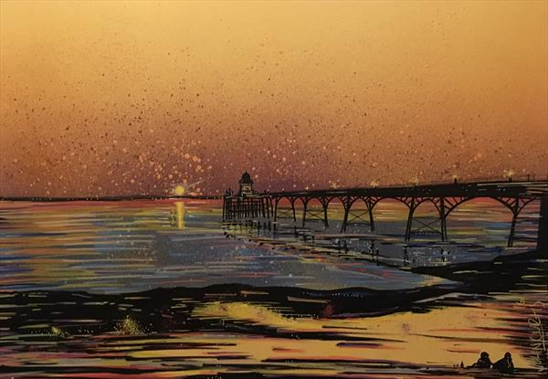 Clevedon Pier and beach  at sunset by John Curtis