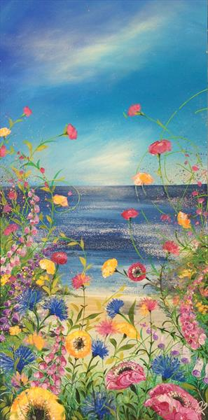 Cornflowers and Poppies by the Sea # Large by Janice  Rogers