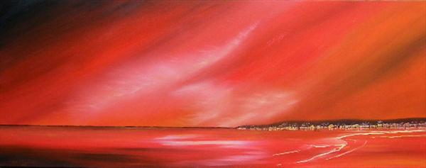 Red Hot Harbour Lights by Linda Tennant