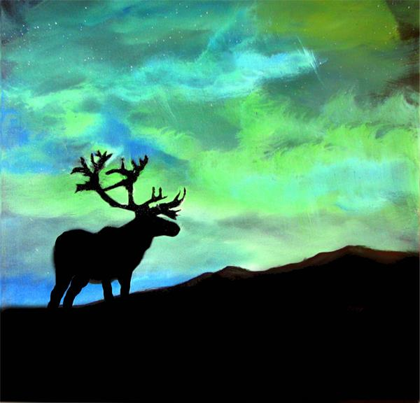 Buck in the Northern lights by John Morris