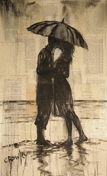 beach lovers (umbrella kiss) by darren crowley