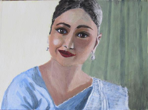 Portrait of an Indian woman by Janet Roberts
