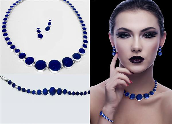 Set Jewellery 4, Fine Silver Lapis Lazuli by Susana Zarate