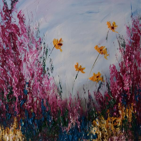 Essence of Summer by Marjory Sime (A  floral in oil with thick paint with yellow flowers) by Marjory Sime