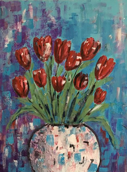Red tulips Reserved