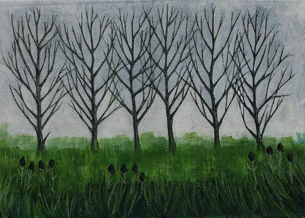 Trees and teazels by Teresa Hodges