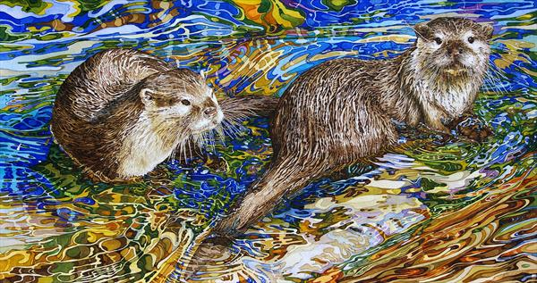 Otter in Shallow Water by Rhian Symes