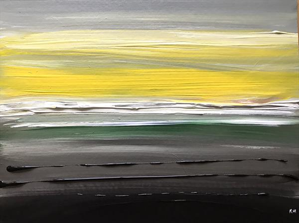 Yellow and black abstract  by Monika Howarth