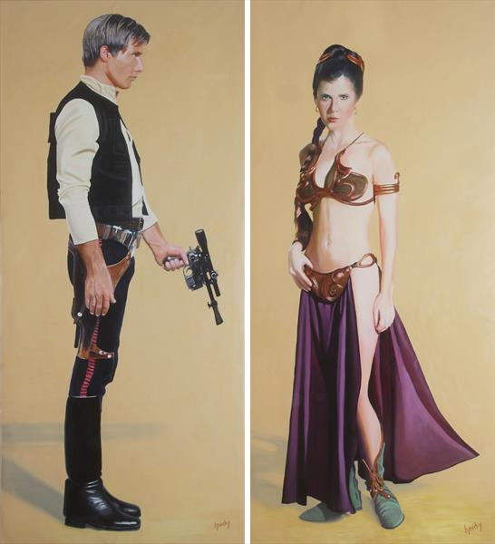 Life-sized Princess Leia in bikini and Han Solo with blaster - a painting by lynchy  by Juan Sly