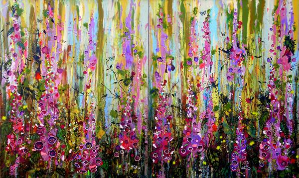 Foxgloves- Large painting on two panels (Diptych)