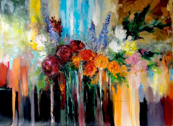 Bouquet of Flowers Limited Edition Print on Canvas