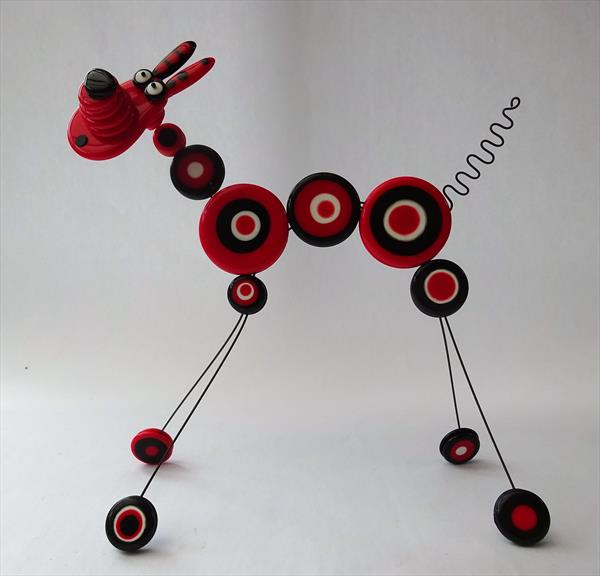 Red Dotty Dog Sculpture by Paula Horsley