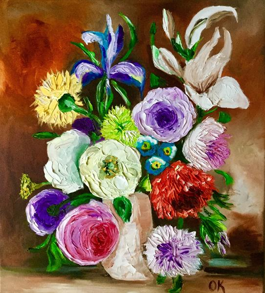 Bouquet of flowers in a vase by Olga  Koval