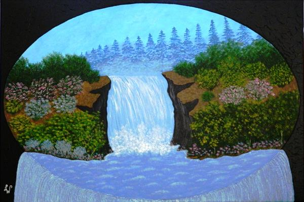 Paradise Waterfalls - large wilderness landscape by Liza Wheeler