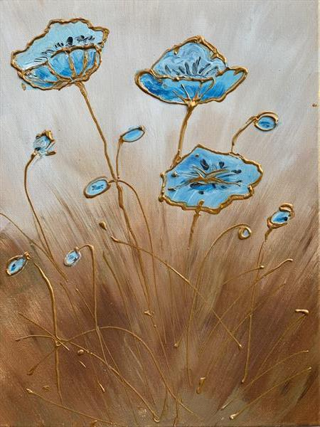 Blue and Gold flowers by Petru Hoza