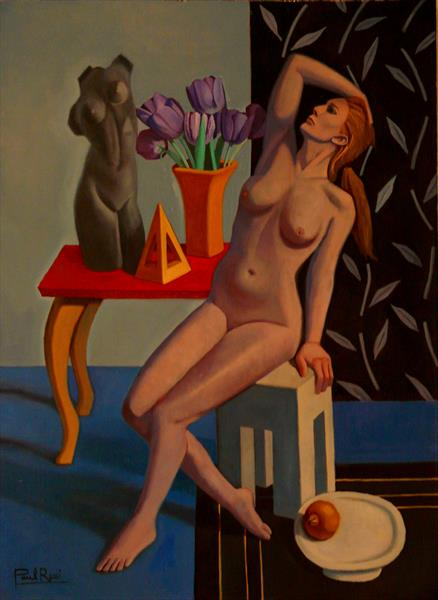 Nude in Blue Interior by Paul Rossi