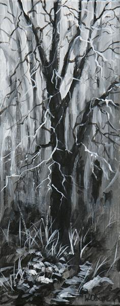 Black and White Woodland by Wendy Clouse