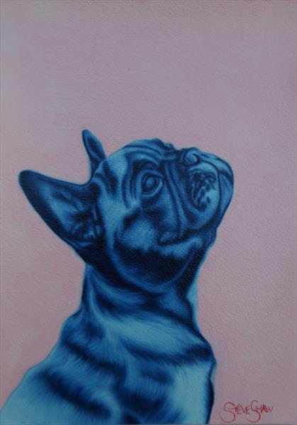 Blue Frenchie. 21cm x 30cm. A4. by Steven Shaw