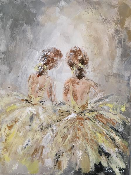 Dancers in the wings (small-in lemon)  by Pippa Buist